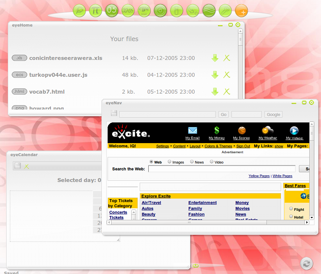 A screenshot of a typical eyeOS desktop with three application windows.