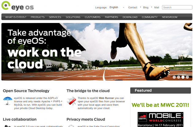 A screenshot of the eyeOS website today.