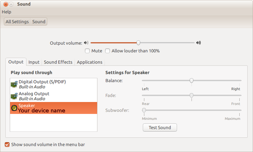 Ubuntu sound settings