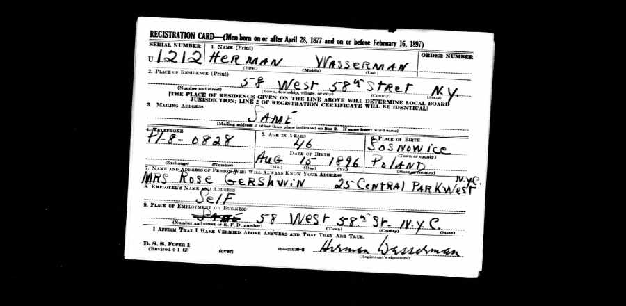 WWII draft registration for Herman Wasserman